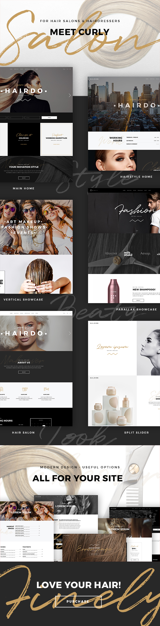 Curly - A Stylish Theme for Hairdressers and Hair Salons Download